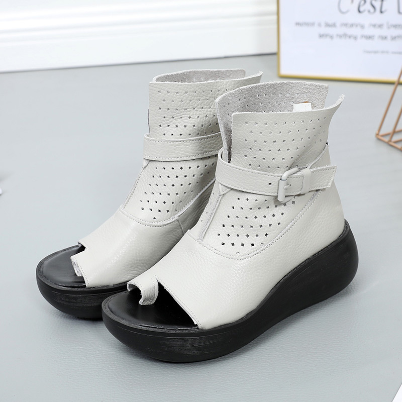 Genuine Leather Soft Sole Summer Wedges Shoes Female Hole Hollow Out Fashionable Roman Shoe Open Toe
