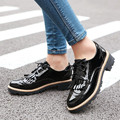 New Plus Size 34-43  Spring Autumn Women Oxford shoes Round Toe leather Flats Oxford Shoes Fashion Retro Fringe Brogue Shoes