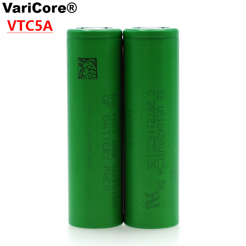 2 Pcs / lot VariCore VTC5A 2600 mAh 18650 30A Discharge Lithium Battery for Sony US18650VTC5A ues of Electronic Cigarette