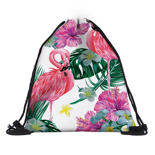 Women's Flamingo Printed Drawstring Bag
