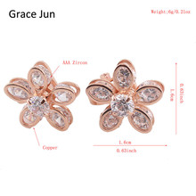 Grace Jun TM 3 Colors Flower Style AAA CZ Clip on Earrings No Pierced for Women