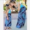 Семья Соответствующие Наряды малыш платье Мать Дочь Платья Без Рукавов печати приморский пляж мать и дочь соответствие одежды