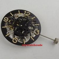 17 Jewels gümüş Tam İskelet 6497 El Sarma hareketi tek 38.9mm eklemek dial