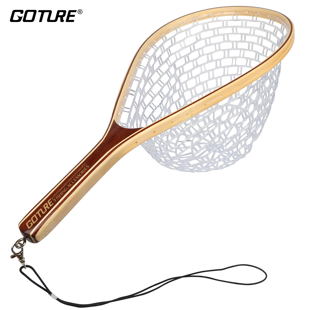 Goture Fly Fishing Landing Net Rubber Net Bamboo and Wood Frame - Ձկնորսություն