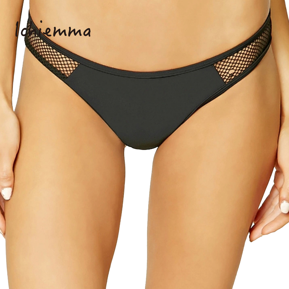 Ichiemma Solide Noir Femmes Culotte Taille Basse Sexy Mailles Up Brève Sheer Sexy Mémoires Slip(