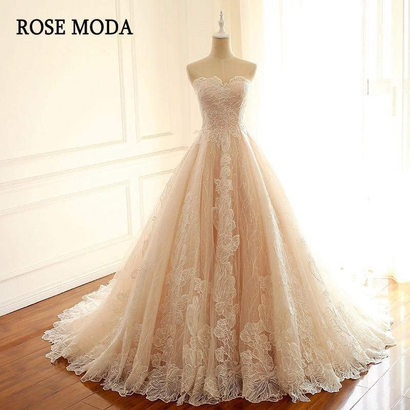 Rose Moda Luxury Blush Pink Wedding Dress French Lace Wedding Dresses 2019 with Train Lace Up