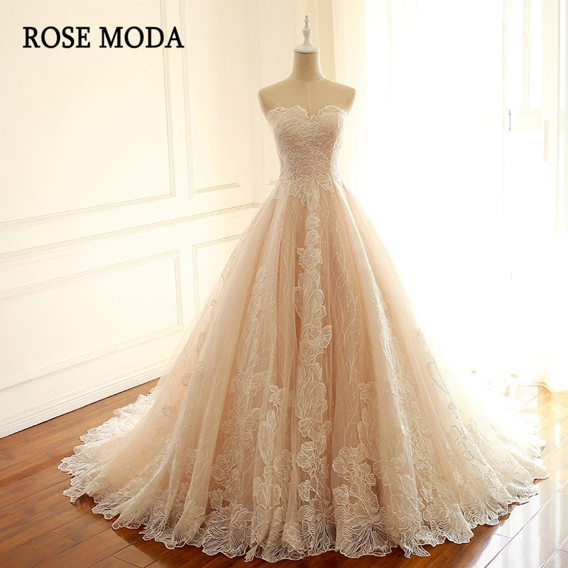 Rose Moda Luxury Blush Pink Wedding Dress French Lace Wedding Dresses With Train Lace Up Back Bridal Dresses