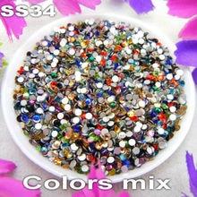 144pcs /pack Non hotfix SS34 7.2-7.4mm Colors mixed Glue on Flat Back Glass Rhinestone Nail Art shoes Diy accessories