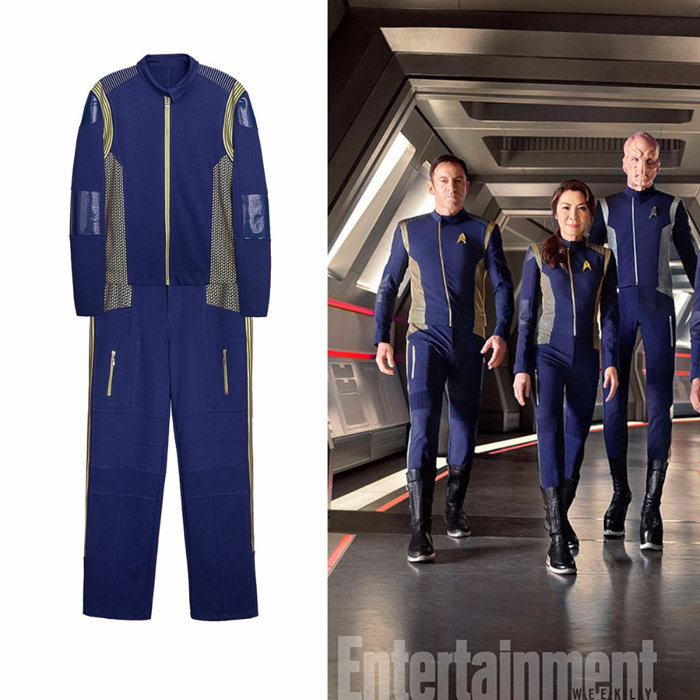 Star Trek Discovery Captain Lorca Uniform Cosplay Costume Blue Mens Command Suit With Free Badge Halloween Party Prop