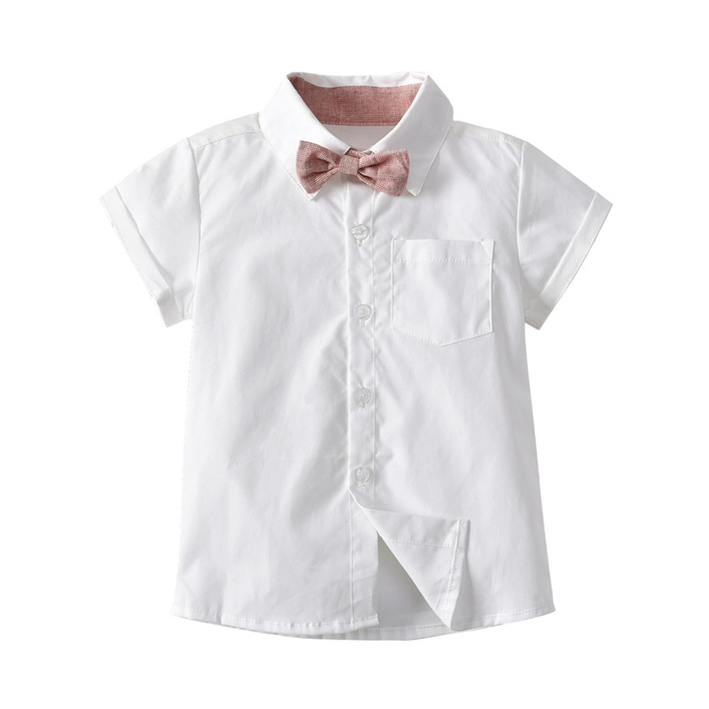 6d7e69581a82 DFXD Newborn Boys Clothes 2018 Summer New Fashion Short Sleeve Bowknot  Shirt+Overall 2pc Formal Infant Boy Clothing Set 6M 3T-in Clothing Sets  from Mother ...