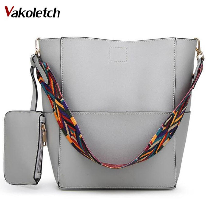 Women bag with Colorful Strap Bucket Bag Women PU Leather Shoulder Bags Brand Designer Ladies Crossbody messenger Bags K23