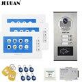 JERUAN 7 дюймов видео дверной звонок запись Домофон Система RFID Доступа комплект безопасности для 3 квартиры камеры до 3 бытовой монитор