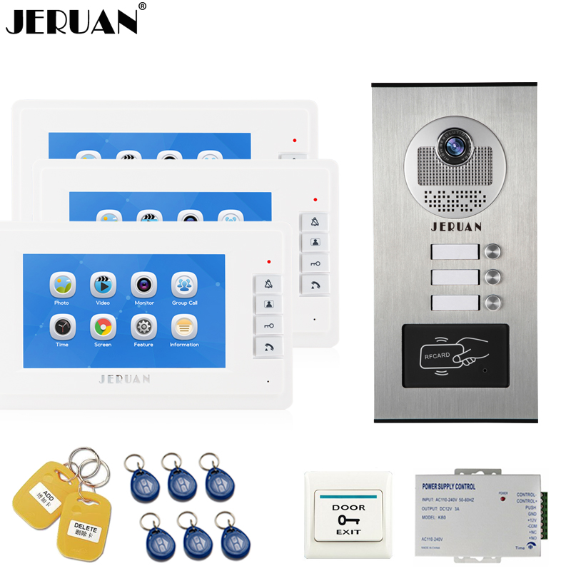 JERUAN 7 inch Video Doorbell Record Intercom system RFID Access Entry Security Kit For 3 Apartment Camera to 3 Household monitor jeruan 7 inch video door phone record intercom system rfid access entry security kit for 4 apartment camera to 4 household