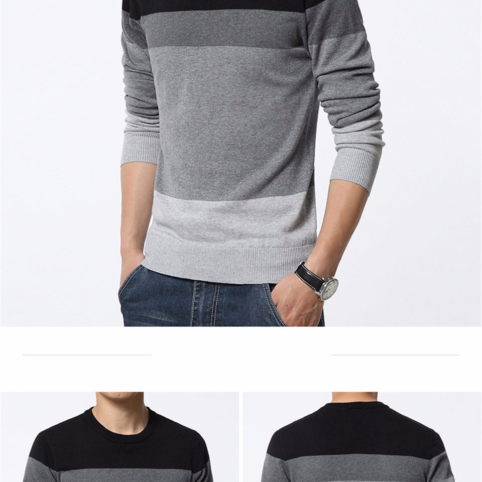 2019 Brand New Sweaters Men Fashion Style Autumn Winter Patchwork Knitted Quality Pullover Men O-neck Casual Men Sweater M-3XL