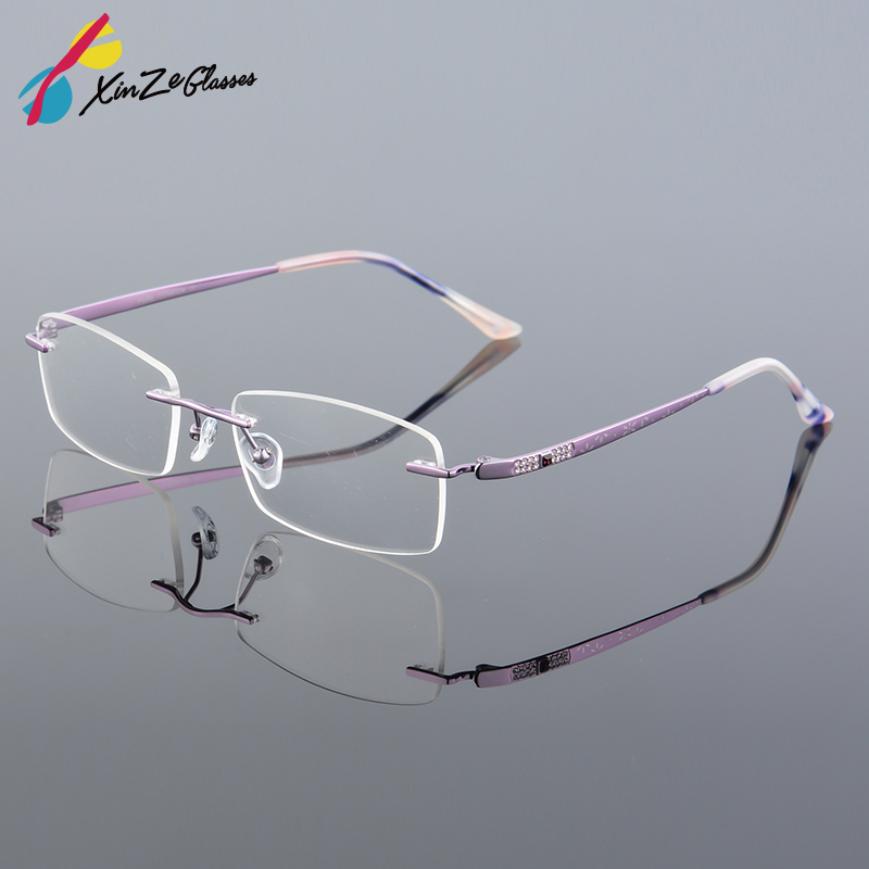 2017 XINZE New Pure Titanium Fashionable Lady Eye Glasses Diamonds - Αξεσουάρ ένδυσης - Φωτογραφία 1