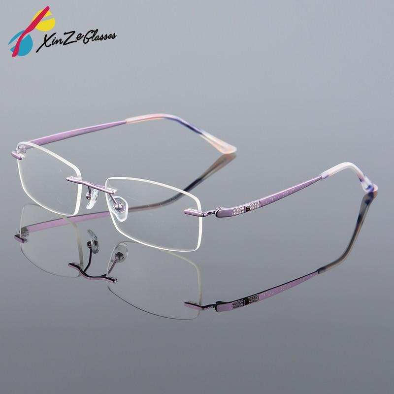 2017 XINZE Nuevo Titanio puro Moda Lady Eye Glasses Diamantes - Accesorios para la ropa