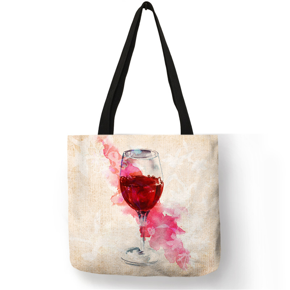 Red Wine Cup Art Painting Tote Bags Women Lady Reusable Shopping Bags Customize Linen Bag With Print Logo Wholse