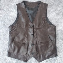 Brown Real Vests Men Cow Leather Waistcoats Luxury Male Genuine Leather Jacket
