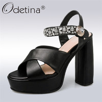 Odetina 2018 New Fashion Women Sandals Dress Party Prom Shoes Peep Toe Srystal Extreme High Heels