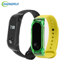 HANGRUI Crystal Plastic + Carbon Fiber silicon strap For xiaomi Mi band 2 Wrist Strap Smart Bracelet Miband 2 Belt Replacement