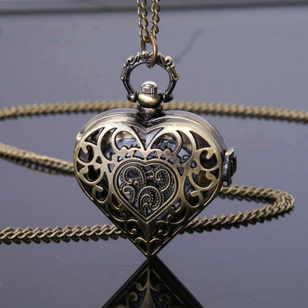 Vintage Bronze Hollow Heart Shape Fob Quartz Pocket Watch With Necklace Chain Free Drop Shipping