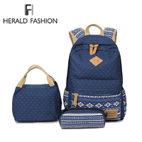 3 PCS Set Backpack with Small Bag & Pencil Case Bagpack Women School Backpack for Teenagers Girls Dot Canvas Laptop Travel Bag