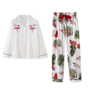 Image 2 - BZEL Long Sleeve Cotton Pajamas Set Cartoon Flamingo Sleepwear Women Nightwear Pijama Mujer Pyjama Femme 2pcs/set Big Yard M 3XL