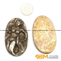Pyrite Pendant 31x53mm Mermaid Carved Gray Pyrite Beads Natural Pyrite Stone Beads For Pendant Making 1