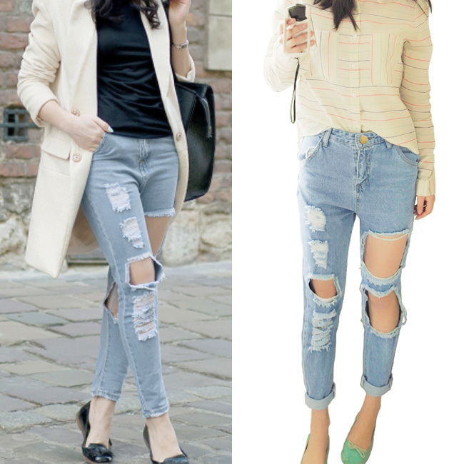 Aliexpress.com : Buy women vintage holes Ripped jeans blue white