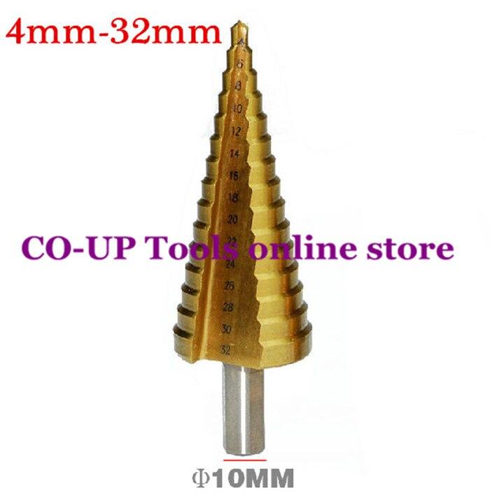 4-32mm The Pagoda Shape HSS Triangle Shank Pagoda Metal Steel Step Drill Bit Hole Cutter Cut Tool A Single Pack