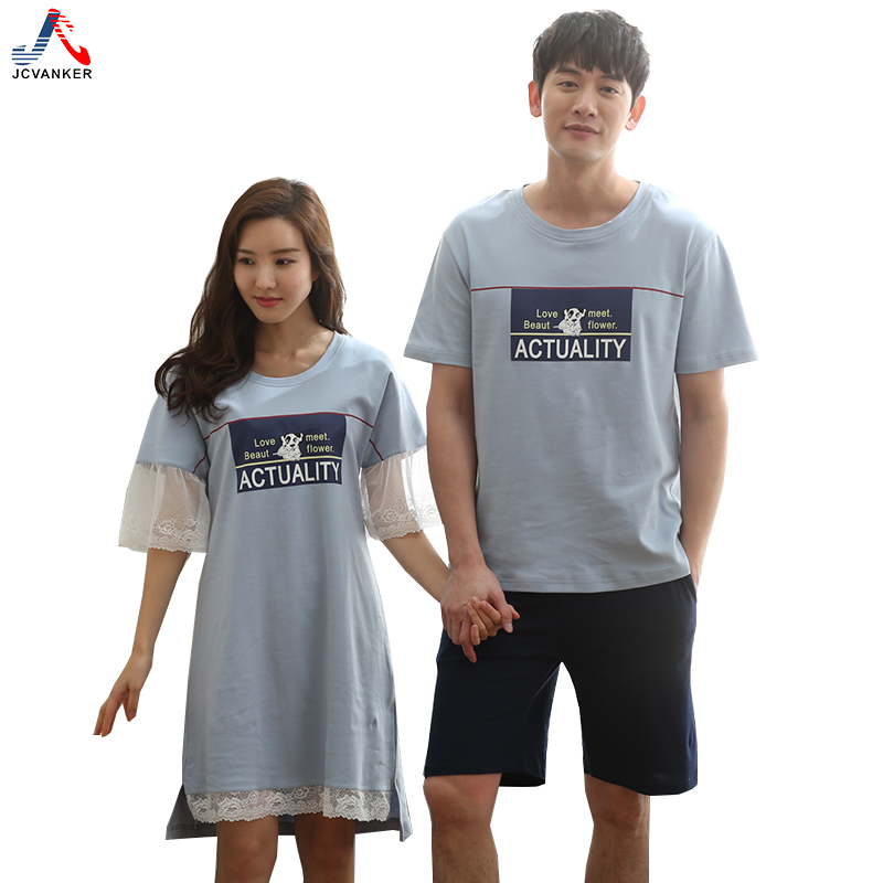 JCVANKER New Fashion Style Cotton Couples Sleepwear For Women Man Lace Sleeve White Blue Female Nightgown Male Pyjama Home Suit