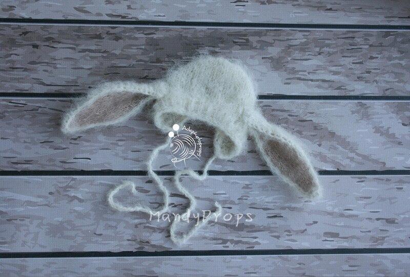 все цены на Newborn props baby rabbit hat props Baby handmade mohair bonnet for newborn photography props онлайн