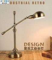 Длинные кулисой настольная лампа Led офиса Чтение свет Главная лампе бюро Золотой Классическая Винтаж лампа