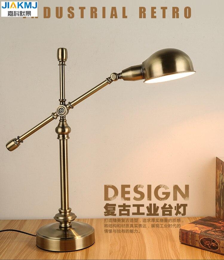 Long Bras Oscillant Lampe de Bureau Led Lampe de Table Bureau Led Light Reading Accueil Lampe Bureau D'or Classique Vintage Lampe