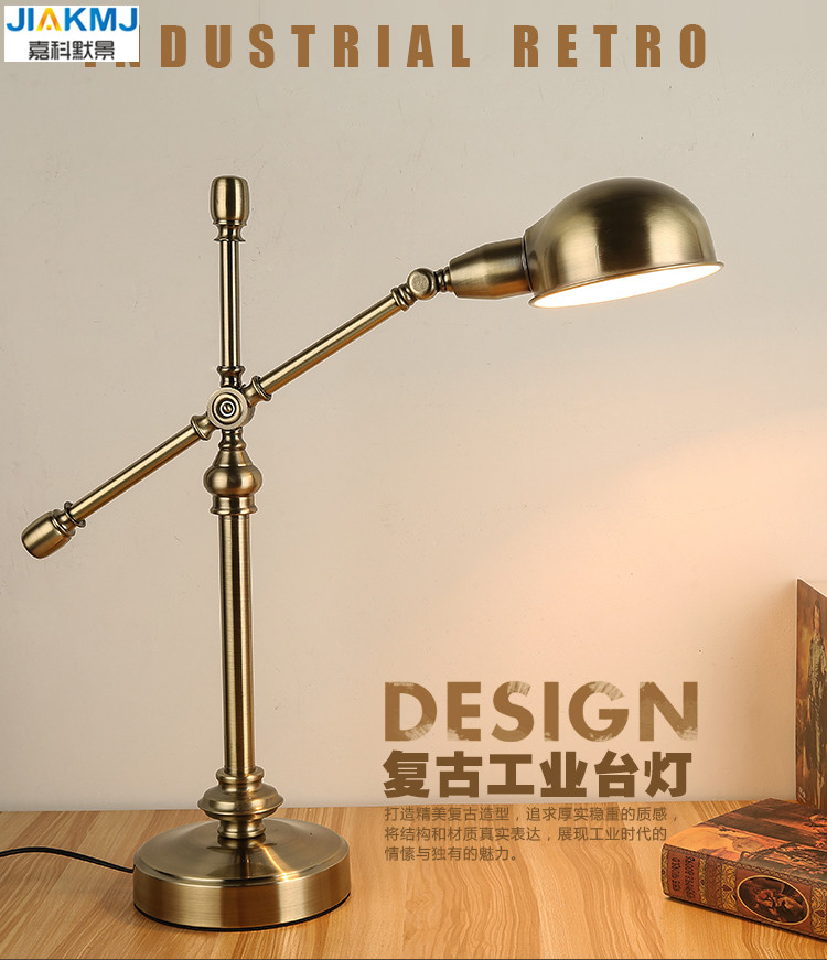 Long bras oscillant Lampe de Bureau Led Lampe de Table Bureau Led Lampe de lecture maison Lampe Bureau doré classique Vintage Lampe