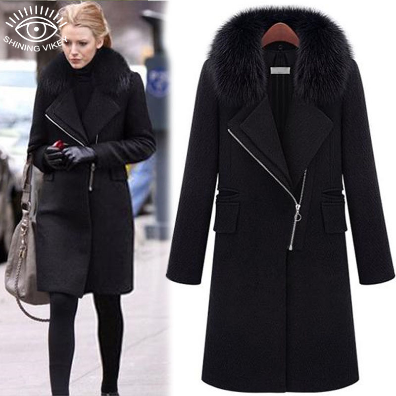 2015 Women's Winter Warm Top Fashion Coat Black Long length ...