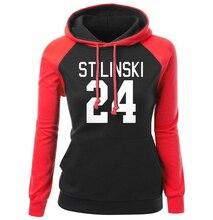 Sweatshirt For Women 2017 Autmn Winter Raglan Hoody Print STILINSKI 24 Wolf Teen Fashion Streetwear Hip Hop Women's Sportswear
