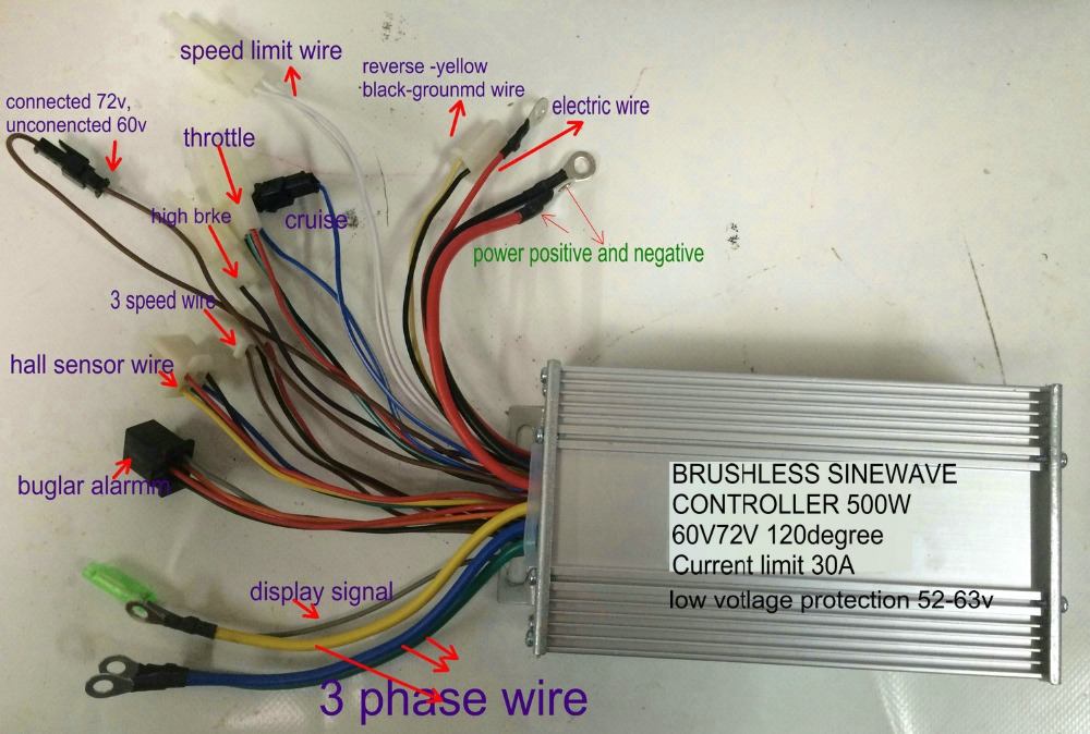 wiring diagram app atv winch rocker switch aliexpress.com : buy 48/60v/72v 500w sinewave controller bldc motor 12mosfet for ...
