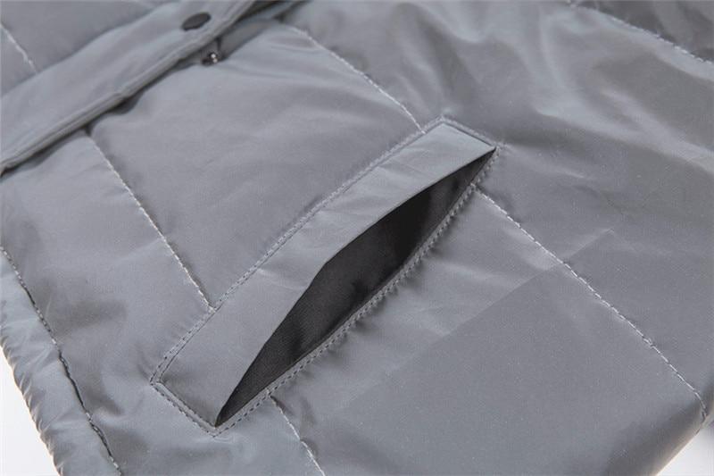 Dulzura flash reflective women padded jacket short tops warm 18 autumn winter solid zipper oversize loose outwear coats casual 27