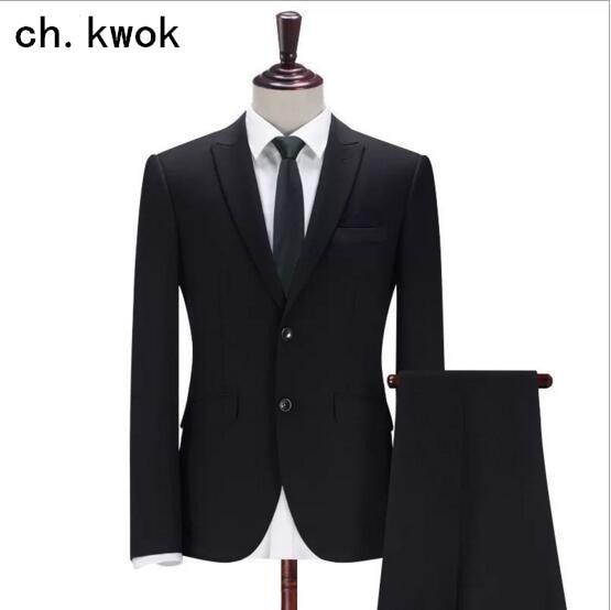 CH.KWOK  Men's Retro Leisure Suit Business Wool Clothing Uniform Suit Men Vertical Stripes Black Slim Fit Suits