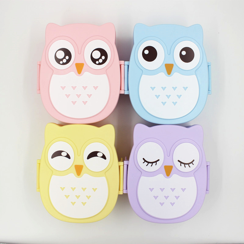1 pcs double squares owl sealing lunch box bento box carton lancheira 4 style 1050ml in. Black Bedroom Furniture Sets. Home Design Ideas