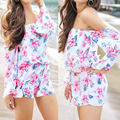 2017 Spring Summer Sexy Rompers Women Jumpsuit Vintage Floral Print Beach Flare Sleeve Off Shoulder Chiffon Playsuit Bodysuit