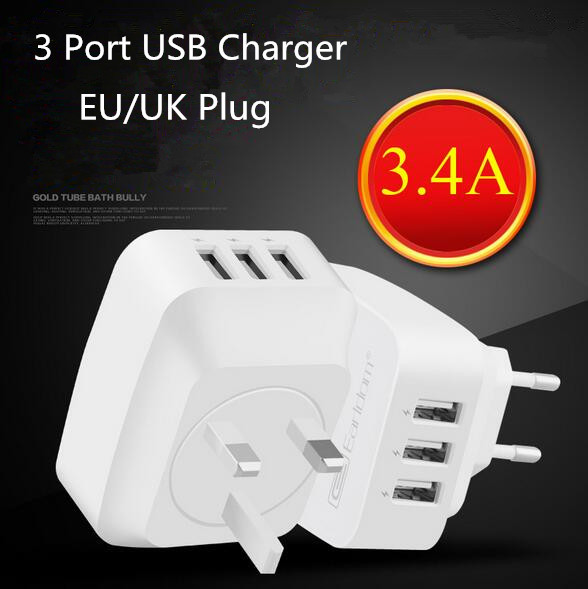 Hot new products wholesale portable 5.0V 3.4A 3 port usb charger