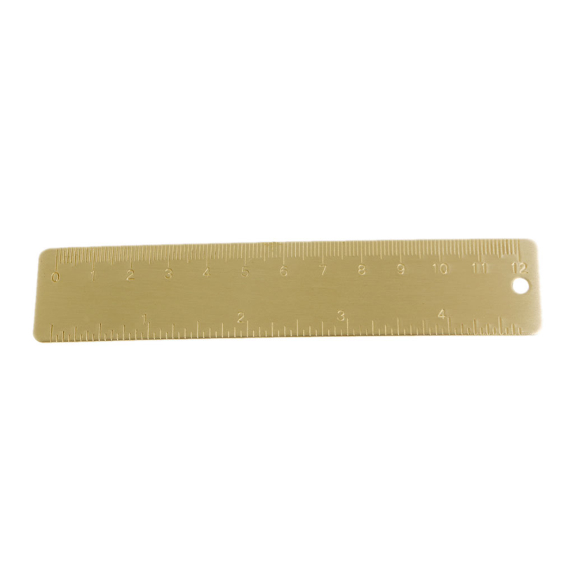 Mini Outdoor Brass Ruler Bookmark Double Scale Cm&Inch Digital Traveler Notebook 10166