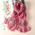 Luna&Dolphin2017 Fashion bandana Luxury Scarve Women Brand Big Flower Embroidery Silk Scarf Women Shawl High Quality