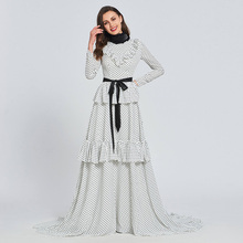 Tanpell high neck prom dresses full sleeves floor length a line dress women formal wedding party custom sweep train gown