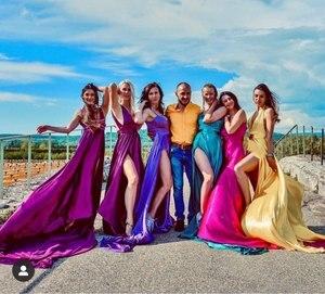 Image 2 - Akşam elbise ile büyük tren vestido longo kırmızı uzun abiye kapalı omuz 2019 robe de soiree yüksek yarık örgün kıyafeti
