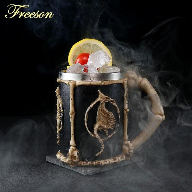 Skull Dragon Resin Stainless Steel Beer Mug Retro Knight Tankard Halloween Coffee Cup Creative Viking Tea Mug Pub Bar Decoration
