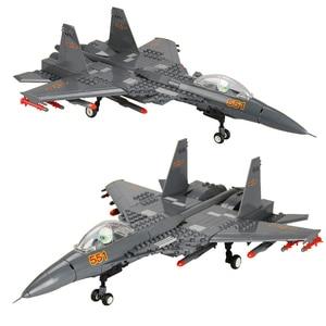 Image 2 - אבני בניין Fit Legoingly 285Pcs צבאי סדרת J15 מבוסס מוביל לוחם MOC מטוס דגם צעצועים למבוגרים ילדים מתנות