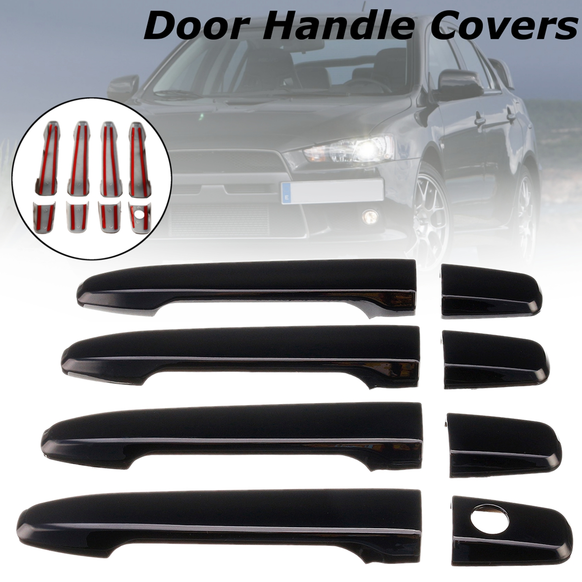8pcs Set ABS Gloss Black 4 <font><b>Door</b></font> <font><b>Handle</b></font> Covers For <font><b>Mitsubishi</b></font> Lancer 2008 2009 2010 2011 2012 2013 2014 2015 2016 2017 image